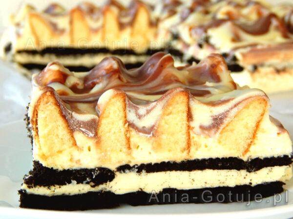 ciasto góra lodowa bez pieczenia na kakaowych herbatnikach